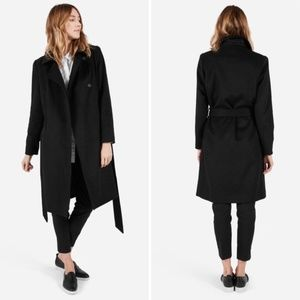 Everlane Black Wool Cashmere Belted Trench Coat S